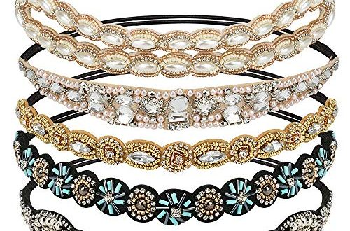 E More 5 Stueck Elastisches Haarband Haarreife Kristall Strass Kopfkette Damen 500x330 - E-More 5 Stück Elastisches Haarband Haarreife Kristall Strass Kopfkette Damen Kopf Accessoires Handgefertigte Haarschmuck Fashion Rhinestone and Kristall Hard Headbands für Frauen Damen (5 Arten)